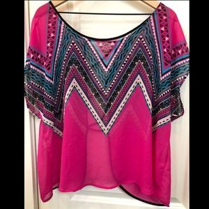 TORRID PINK OPEN BACK SHEER TOP